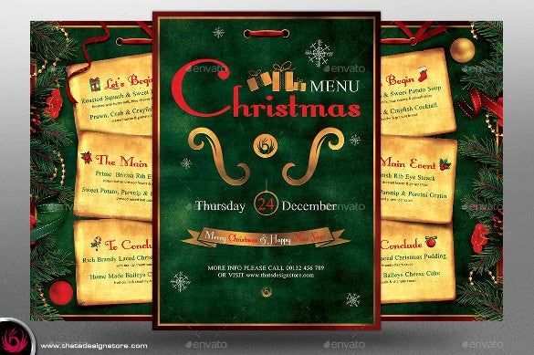 christmas holiday menu psd format download