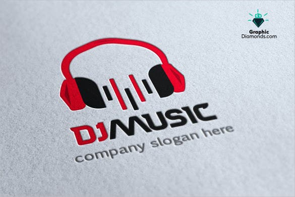 dj music logo template unique design