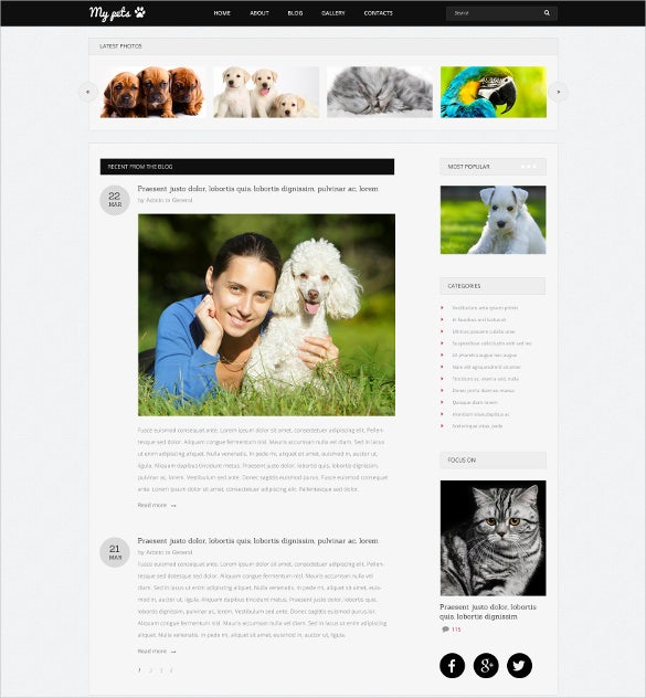 animal pets guide drupal template