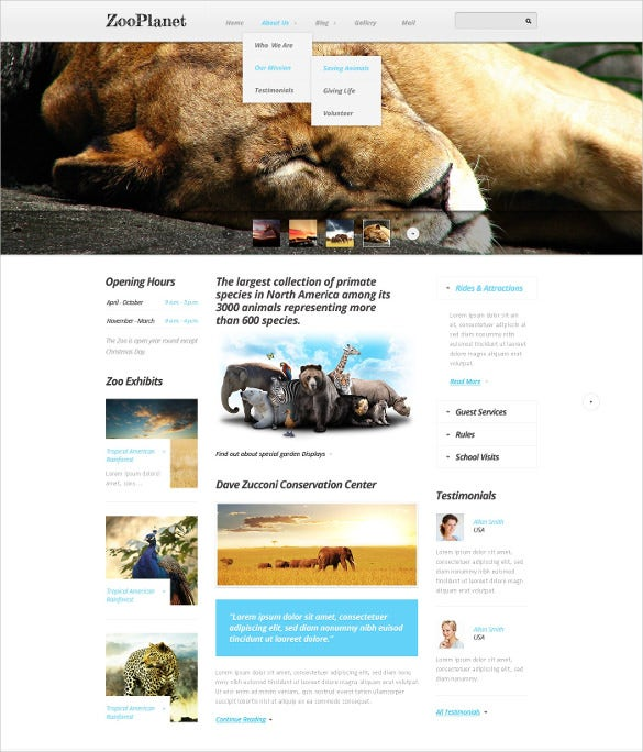 zoo animal pet drupal template