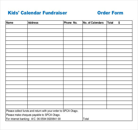 Example Kids Calendar Fundraiser Order Form Download