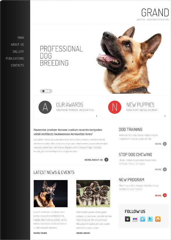 animal pet dog drupal template
