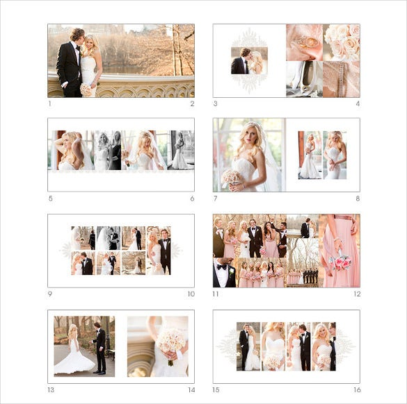 16 sheets wedding album template for download