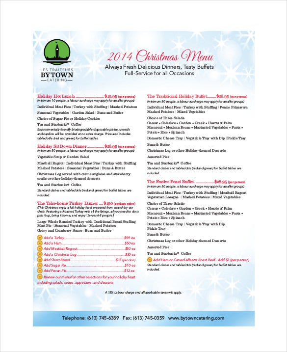 free pdf format of holiday menu template download