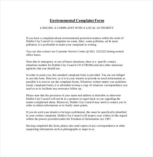 Environment Complaint Letter 10 Free Word PDF Documents – How to Create a Form Template in Word