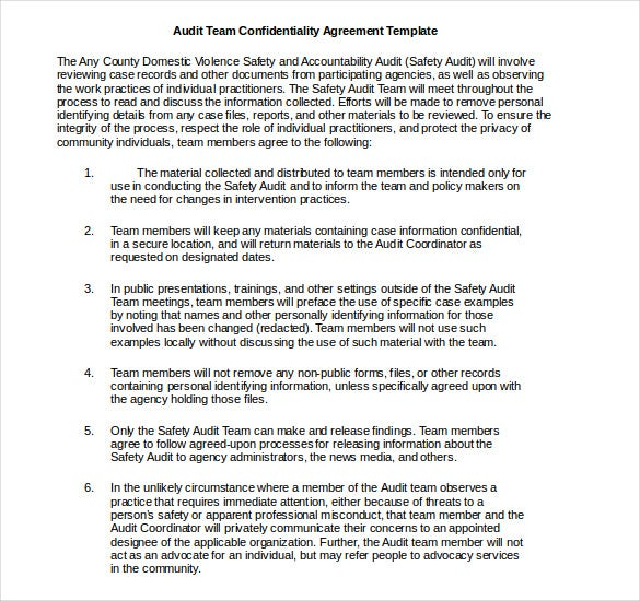 Audit Confidentiality Agreement Template Free Word