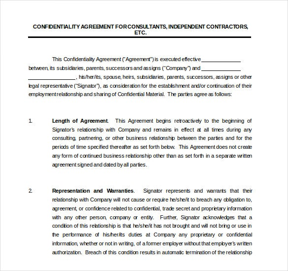 consultant confidentiality agreement