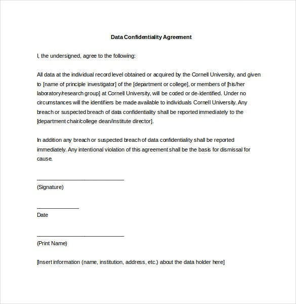 Elegant Data Confidentiality Agreement Word Template