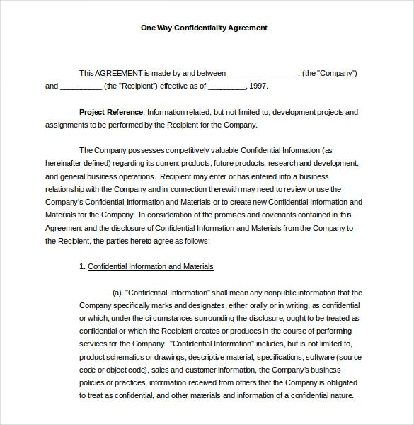 one way confidentiality agreement