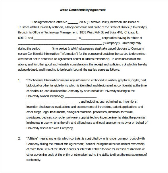 office confidentiality agreement