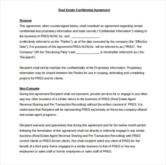 32 Word Confidentiality Agreement Templates Free Download – Real Estate Confidentiality Agreement