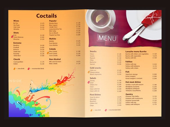 22 price menu templates free sample example format download
