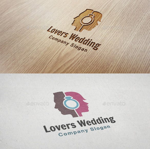 lovers wedding logo template for download