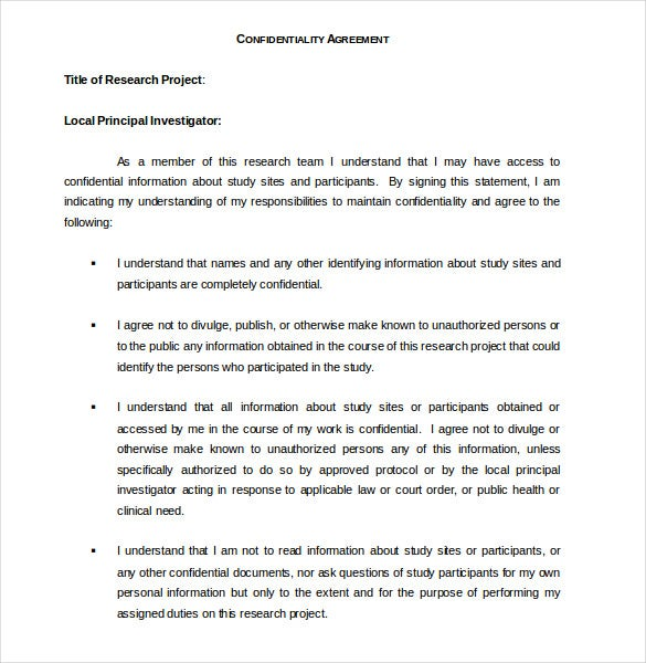 research confidentiality agreement