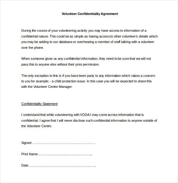 Word Volunteer Confidentiality Agreement Template