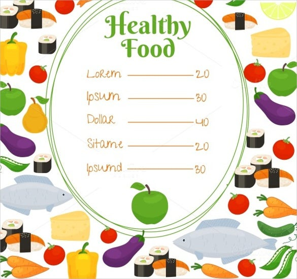 Sample Healthy Food Price Menu Template