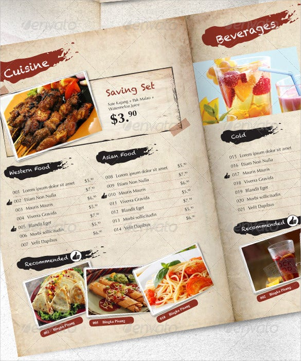 Restaurant Price Menu Template Sample Download