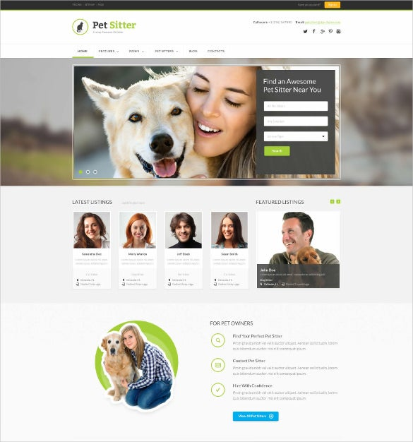 animal pet esponsive html5 css3 blog template