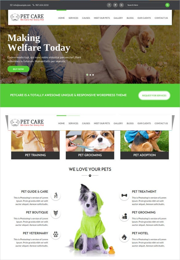 animal petcare one page html5 blog template