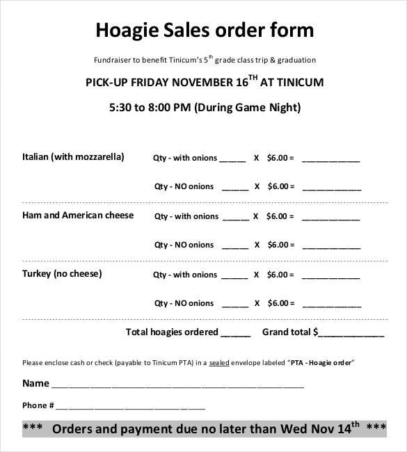 example template for hoagie sales order form