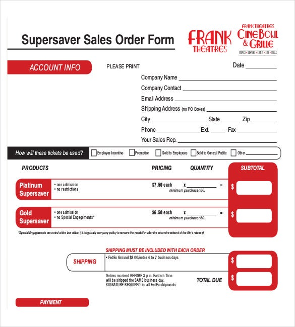 super saver sales order form sample example