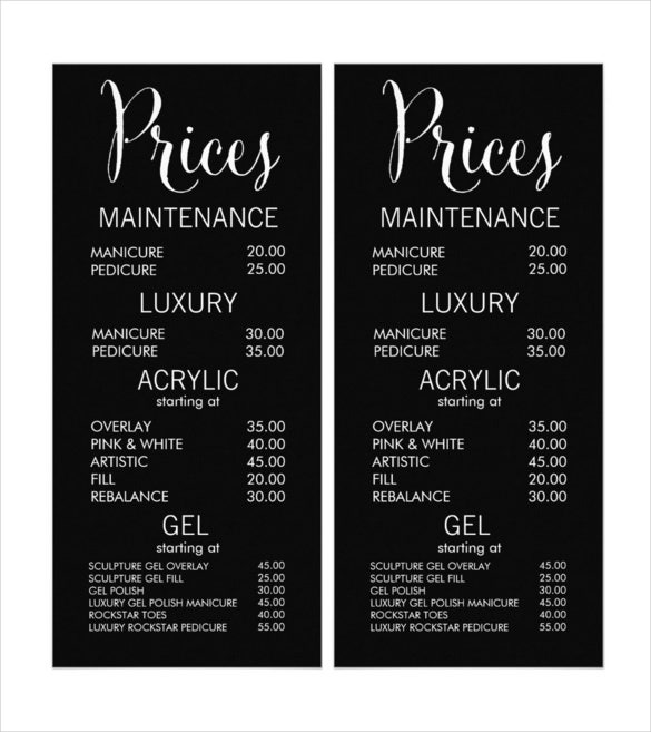 Menu List Sample Gold Glitter Salon Beautician Menu Price List
