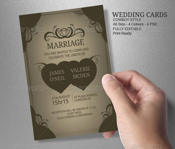 heart theme wedding card template for download