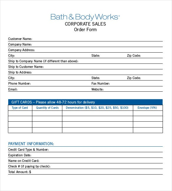 sample example format corporate sales order form