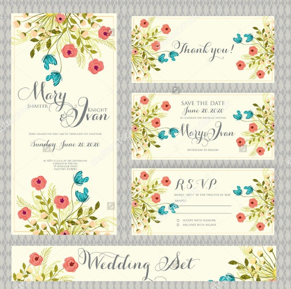 floral design wedding card template for download