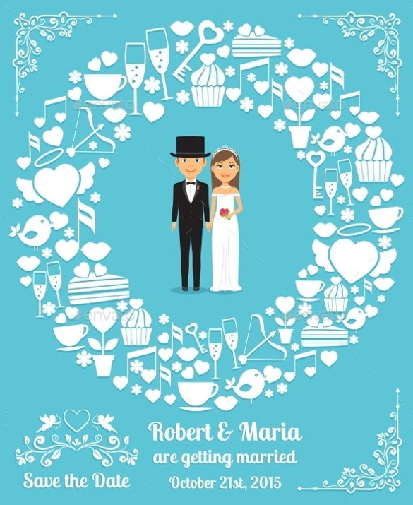 couple theme wedding card template for download
