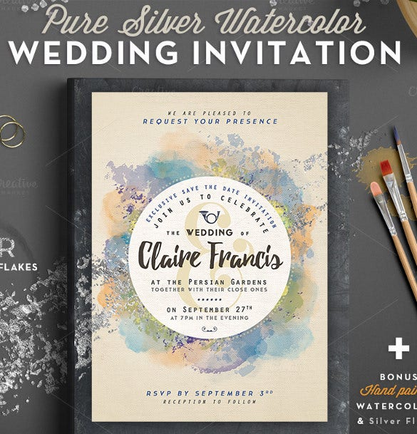 simple clear wedding card template for download