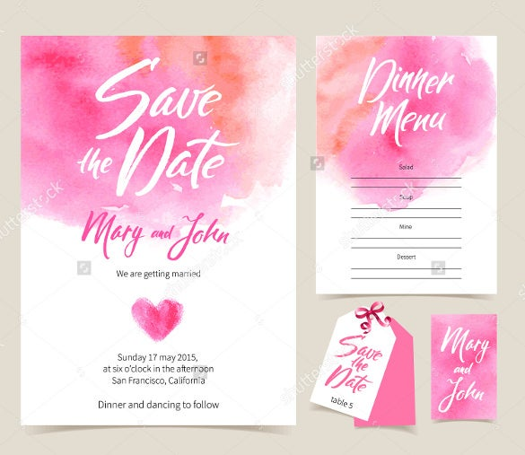 water color wedding card template for download