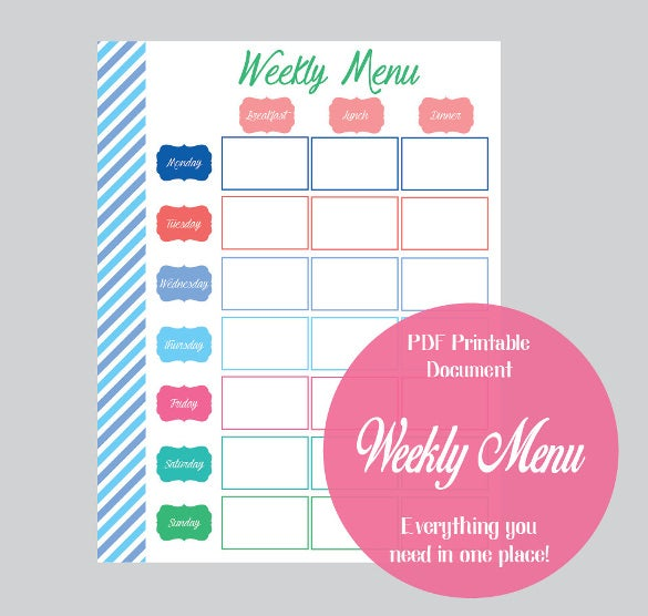 Weekly Breakfast Menu Template Sample Download  Breakfast Menu Template