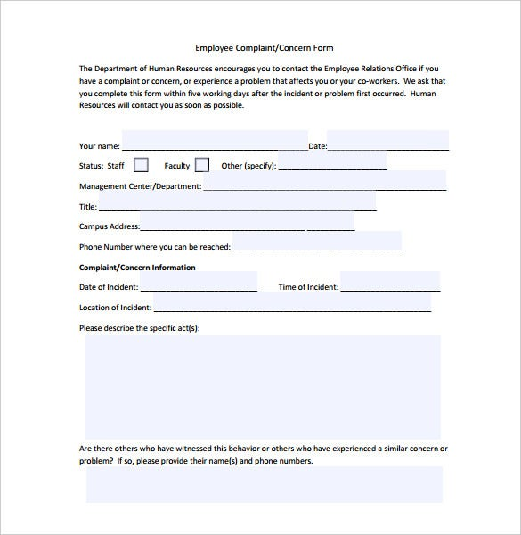 editable employee complaint form on hr pdf format