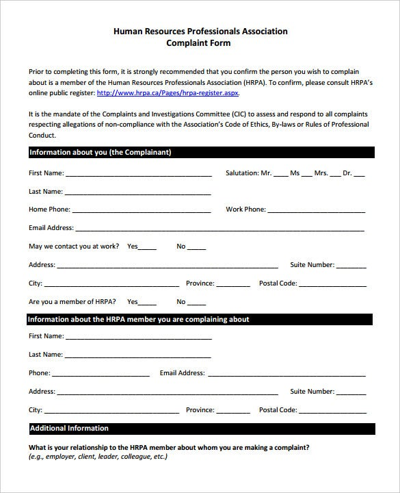 Human Resources Professionals Association Complaint Form Sample  Free Customer Complaint Form Template