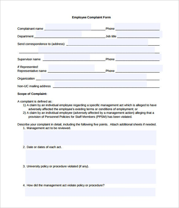 Sample civil complaint form for Sexual harassment letter template
