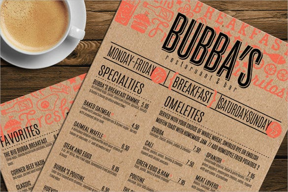 example breakfast menu template download
