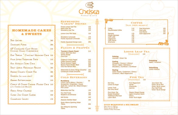 chelseas breakfast menu template sample download