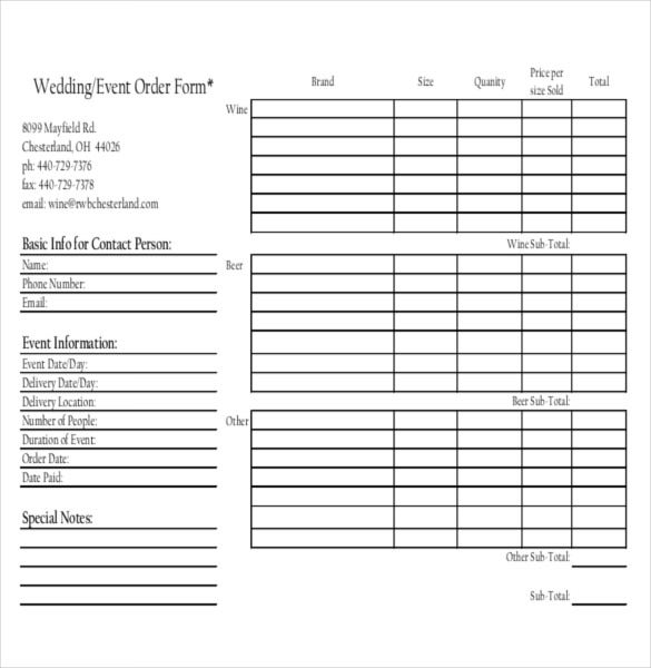 wedding event order form sample example format