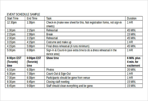 event order schedule template free download1