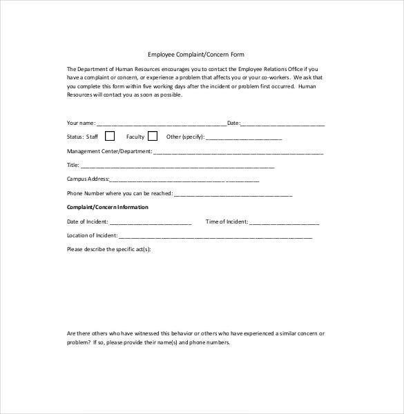 Complaint Form Human Resources Employee Complaint Form Hr