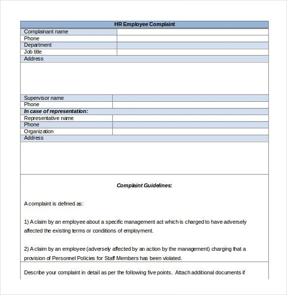 Claim Form In Word Human Resources Complaint Form Download Hr