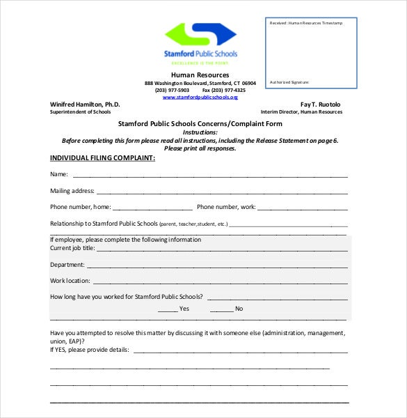 Superb Employee Complaint Form Template  Free Customer Complaint Form Template