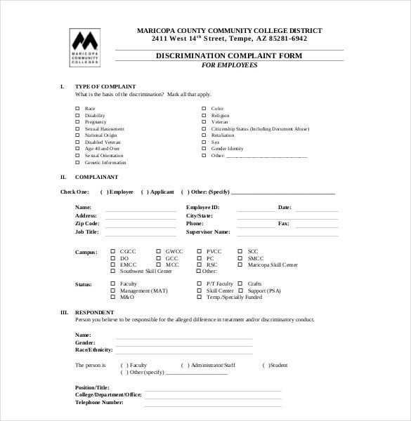 HR Discrimination Complaint Form  Free Customer Complaint Form Template