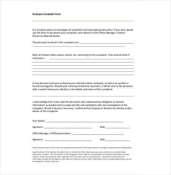 employee harrasment complaint form template