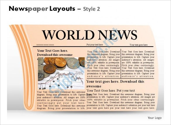world newspaper layouts style 2 powerpoint presentation