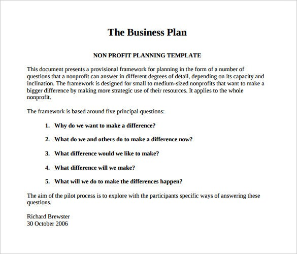 Non Profit Business Plan Template Free Download