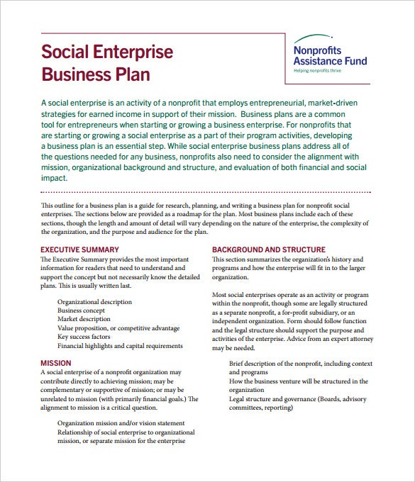 Social EnterpriseBusiness Plan Nonprofits PDF Template