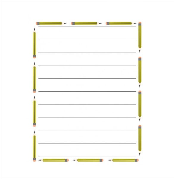 Lined Paper With Border Word File  Lined Paper Template Word