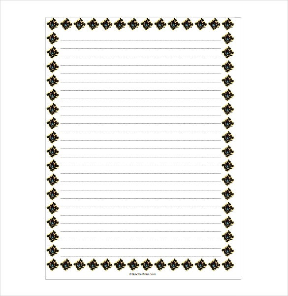 Bordered Lined Paper Word Document  Lined Paper With Drawing Box